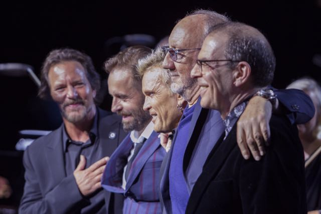 L-R Eddie Vedder, Alfie Boe, Billy Idol, Pete Townshend, RZ Classic Quadrophenia benefit concert for Teenage Cancer America Chicago 2017